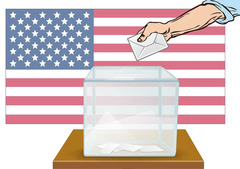 Flag and ballot box